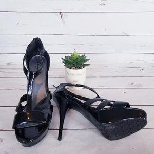 CANDIE'S Platform Patent Leather T-Strap Heel 9.5M
